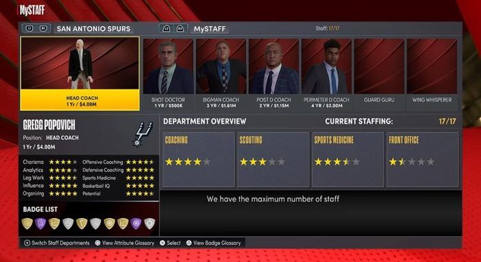 The MySTAFF hub on MyTEAM in NBA 2K22