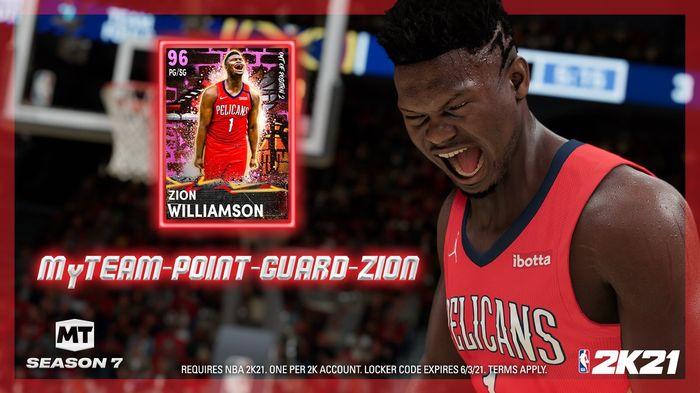 NBA 2K21 Locker Code Zion Williamson Cover Star Free MyTEAM