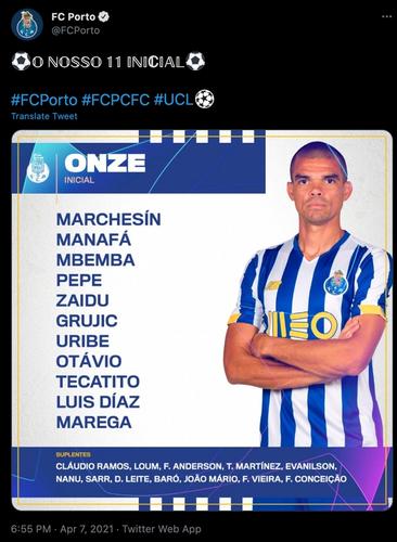 FC porto lineup v chelsea ucl quarter final