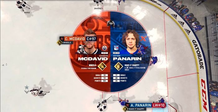 The on-ice graphics in NHL 22 courtesy of the gameplay trailer