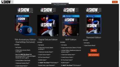 MLB The Show 20 store Digital Deluxe Edition MVP Edition 15th Anniversary Edition
