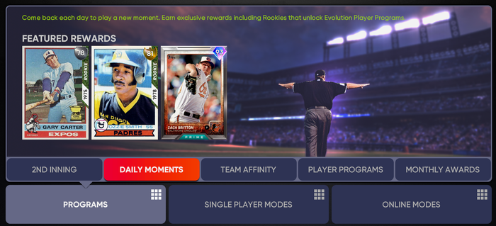MLB The Show 21 June Daily Moments Program Rewards Choice Pack Evolution Rewind
