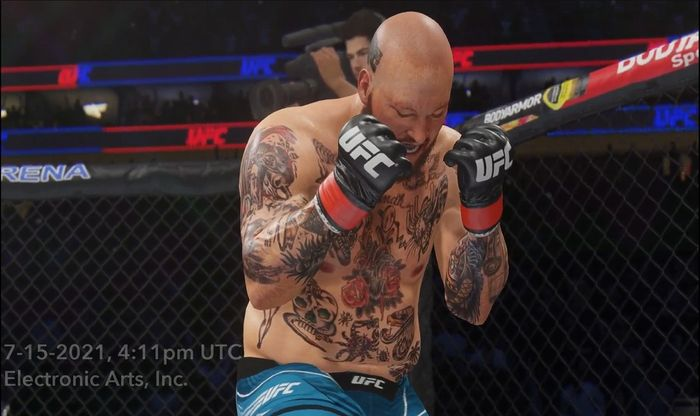 Rapper Action Bronson celebrates a knockout victory in UFC 4