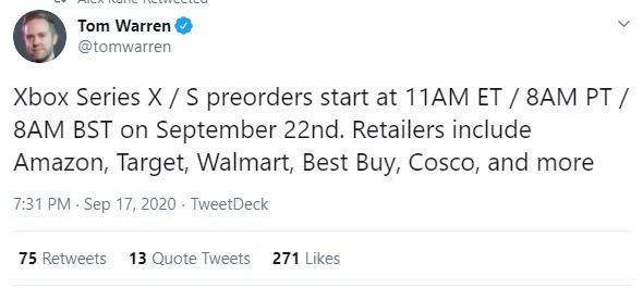 xbox series x pre order times