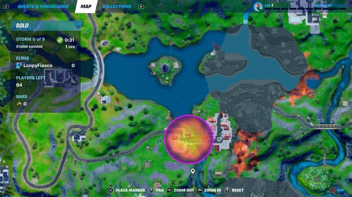 Map location of the new zones on Fortnite called Sideways