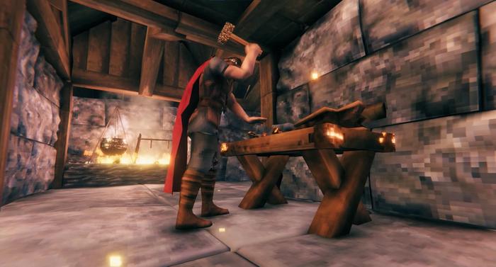 Valheim Workbench crafting man