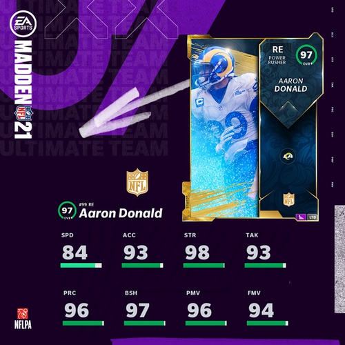 MUT 21 NFL Honors Aaron Donald Defensive POTY Card