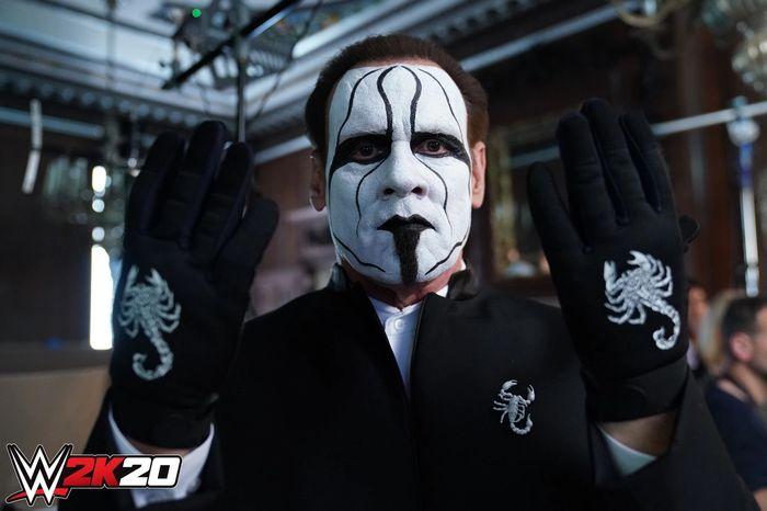 WWE 2K20 trailer shoot backstage photo of Sting