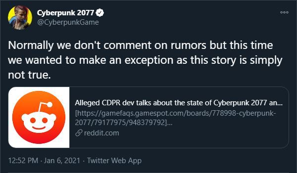 Cyberpunk 2077 rumors denied cd projekt red
