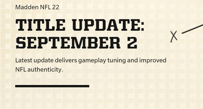 The title update announcement page from Madden 22
