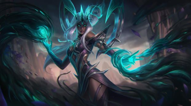Image of Karma, League of Legends spamming energy form her hands.
