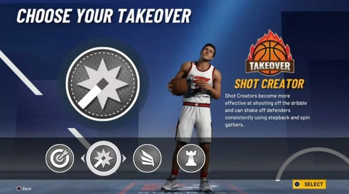 A selection screen in NBA 2K21 gives players the ability to choose their Takeover