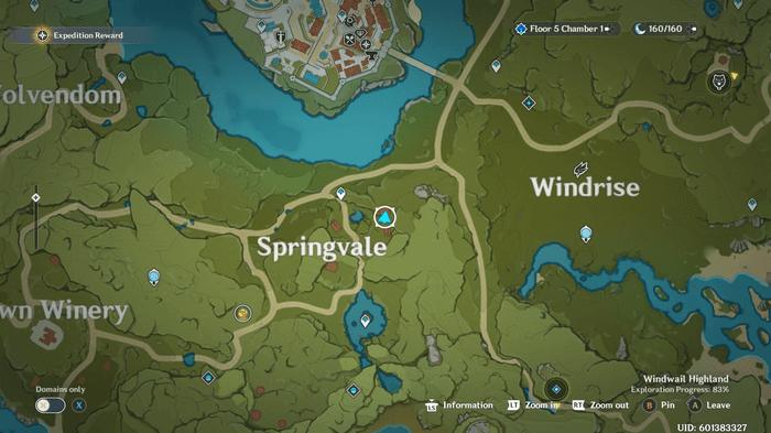 Genshin Impact map of Springvale