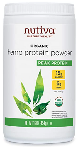 Best protein powder Nutiva product image of a white container with green details