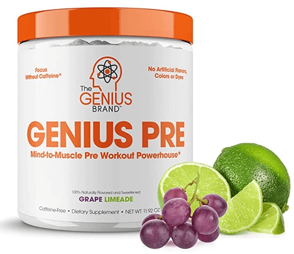 Best pre-workout The Genius Brand product image of a white container with orange accents, lid, and labeling