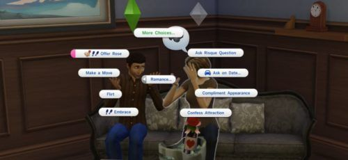 budding romance between two Sims