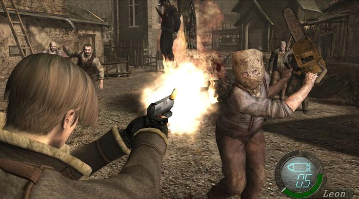 Resident Evil 4 Key Art Steam Leon Chainsaw
