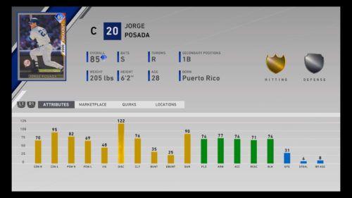 MLB The Show 20 Diamond Dynasty Jorge Posada stats card