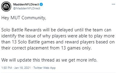 MaddenNFLDirect tweet regarding issues with solo battles