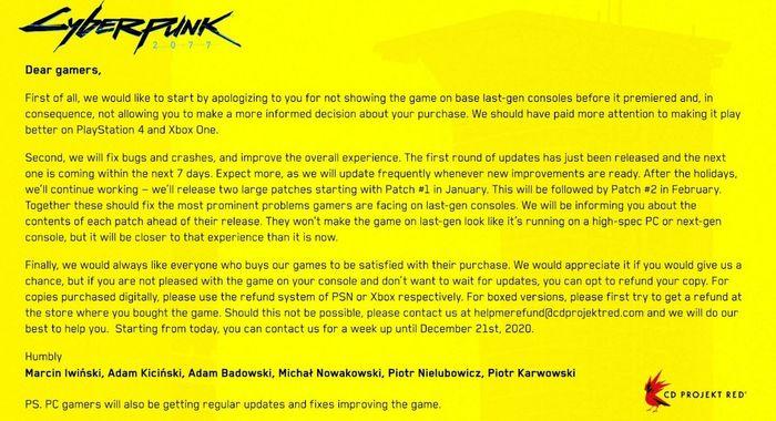 Cyberpunk 2077 refund ps4 xbox one xbox series x ps5