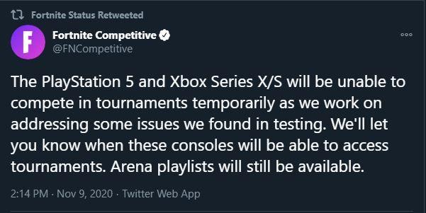 Fortnite Tournaments Disabled next gen xbox series x ps5