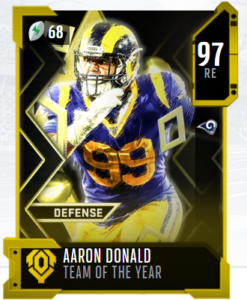 Aaron Donald TOTY card in MUT