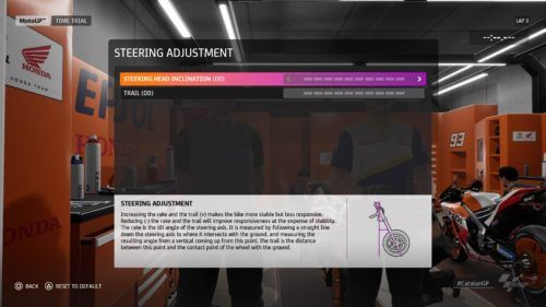MotoGP™20 steering adjustment setup Catalan