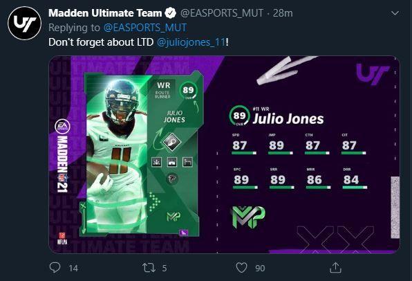 Madden Ultimate Team Madden 21 Superstar MVP LTD Julio Jones