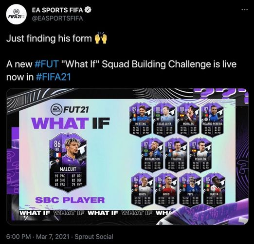 FIFA 21 Kevin Malcuit SBC What If Ultimate Team