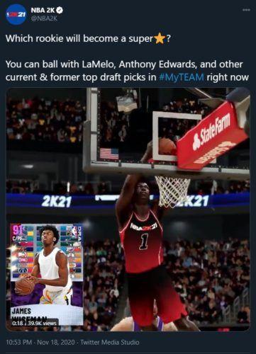 NBA 2K21 MyTEAM Draft Packs James Wiseman Anthony Edwards LaMelo Ball Obi Toppin