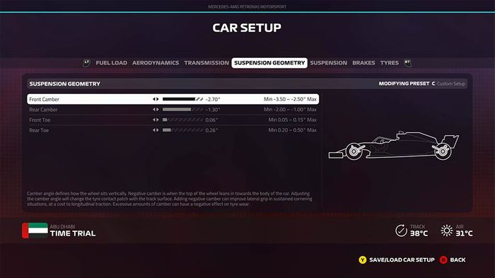 F1 2019 Abu Dhabi grand prix setup suspension geometry