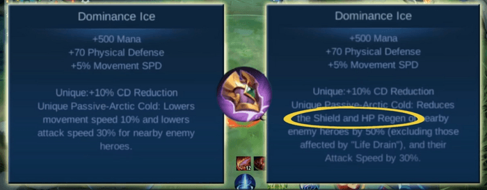 A Mobile Legends scenario explaining if two teammates applied the life drain debuff in one enemy, only one will have an effect.