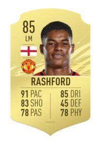 Rashford fifa 21 ratings