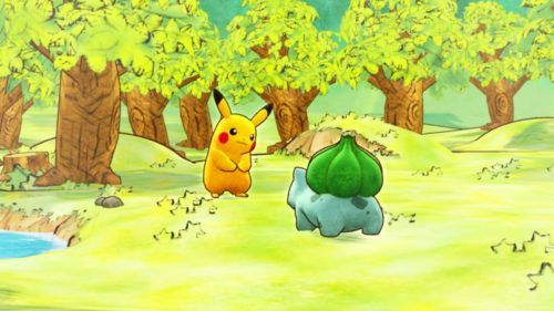 Pikachu and Bulbasaur in the forest.