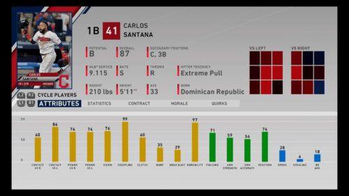 Carlos Santana MLB The Show 20 best first basemen 1b rtts franchise mode march to october diamond dynasty