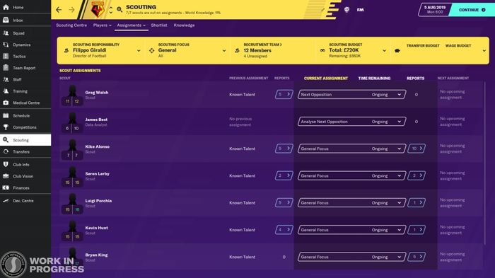 SCOUT: The scouting system has been revamped for FM20