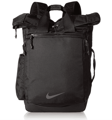Best gym bag Nike product image of a black backpack with grey Nike tick and side pockets