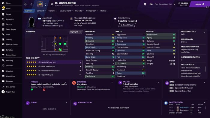 Lionel Messi's stats in Football Manager 2021