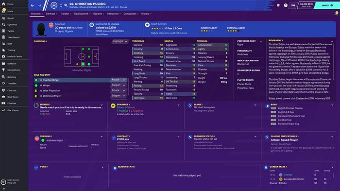 Christian Pulisic's FM20 stats page