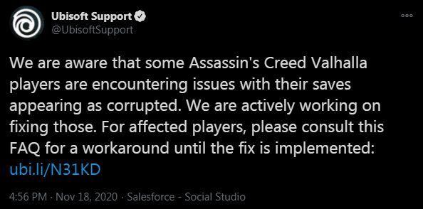Ubisoft Tweet Valhalla Corrupt Save