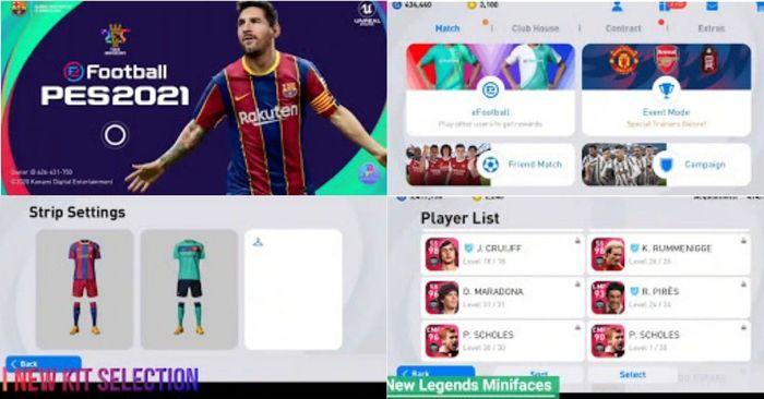 pes 2021 mobile menu